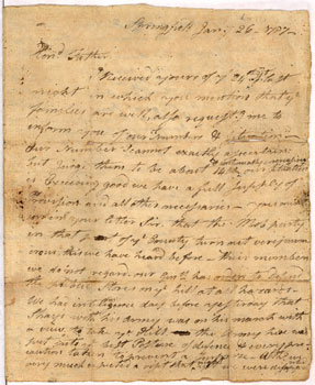 image: David Hoyt's Letter to His Father Regarding Shays' Rebellion
