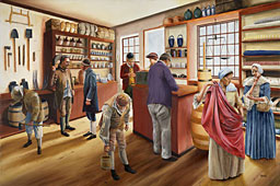 painting of the boom: busy interior of John Williams store