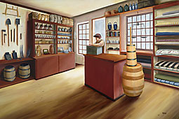 painting of the bust: empty interior of John Williams store