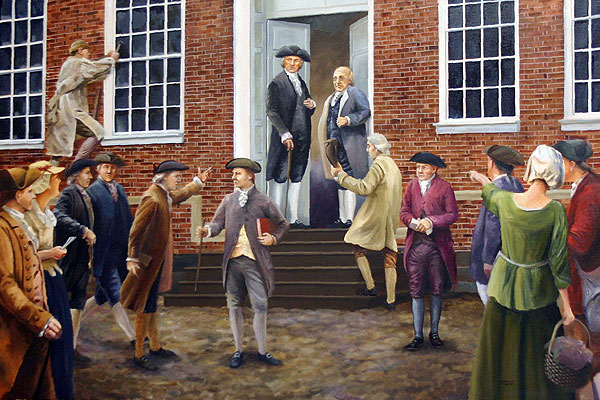 painting of the delegates to the Philadelphia Convention entering Independence Hall