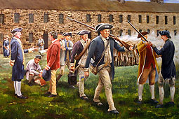 painting of the soldiers being discharged from army at West Point, NY