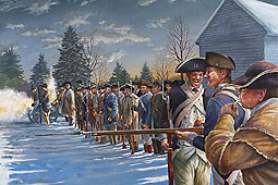 painting of the government militia lined up and firing on the regulators