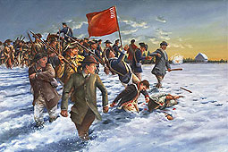painting of the regulators being fired upon and hit, some falling, others fleeing