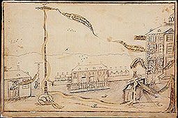 Sketch of the 1770 New York liberty pole.