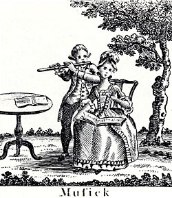 woodcut of man playing flute to seated woman