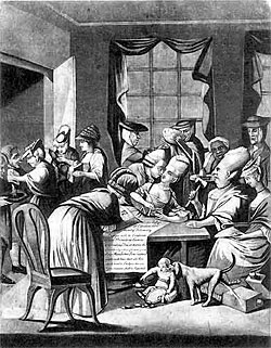 1775 cartoon showing women boycotting foreign goods.
