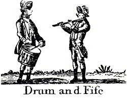 woodcut of a drummer and fife player