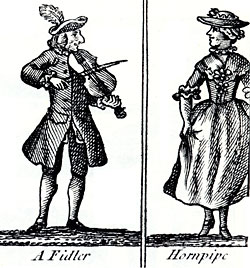 woodcut of fiddler and woman dancing the Hornpipe