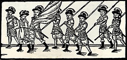 woodcut of soldiers marching with drum, fife, and lances