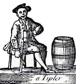 wood cut of a man drinking from a tankard