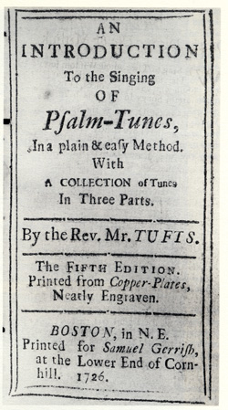 frontispiece of Psalm Tunes by Reverend Tufts