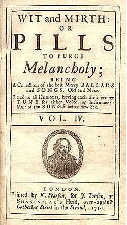cover of 1719 songbook titled 'Wit and Mirth or Pills to Purge Melancholy'