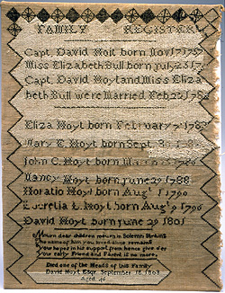 image: Embroidered Hoyt Family Register